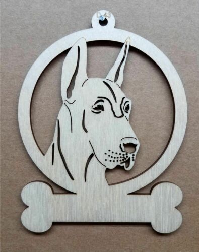 Great Dane docked ears dog ornament wooden Christmas Gift D-43