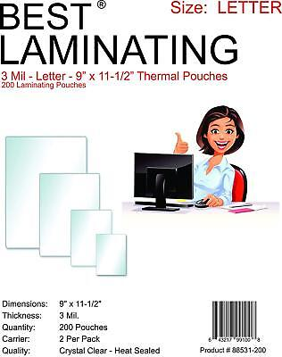 Best Laminating 3mil. Thermal Pouches. 9 X 11.5 Clear - 200 Pouches Total