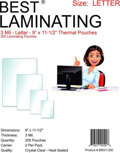 Best Laminating Clear 3 Mil Thermal Pouches, 9 x 11.5 inches, 200 Pouches