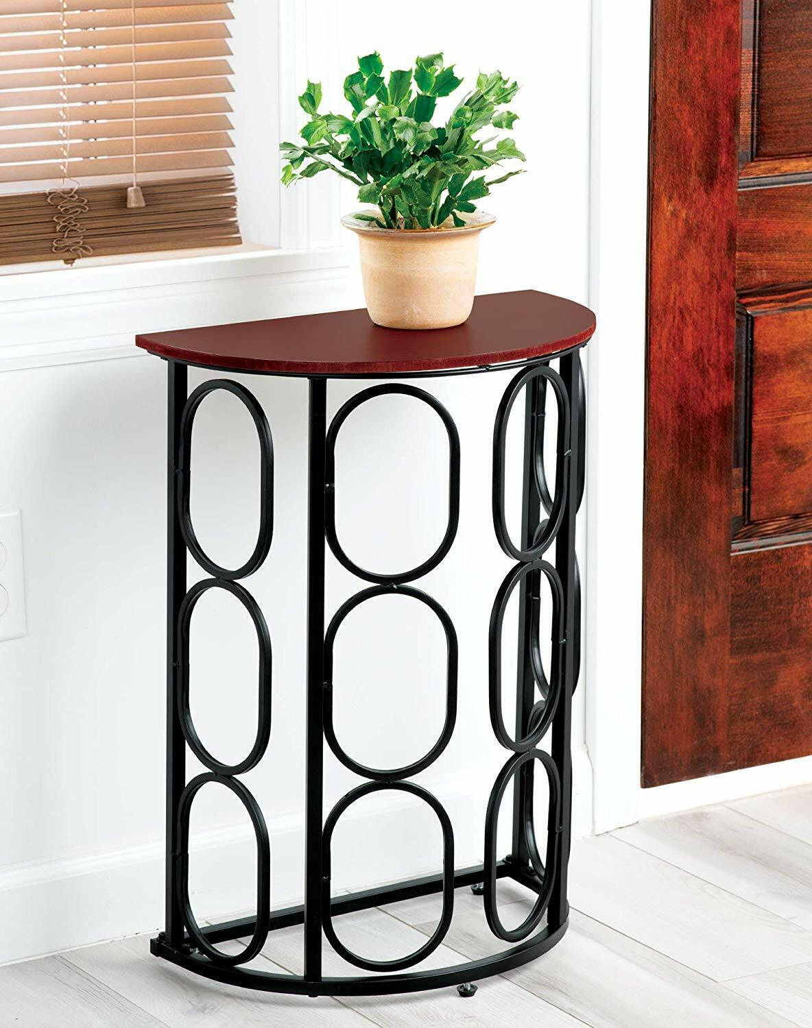 Half Moon End Table Console Metal, Wood Top Geometric Accent
