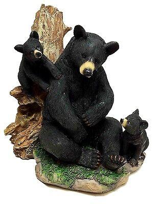 BLACK MOTHER BEAR CARING FOR CUBS NATURAL HABITAT SCULPTURE STATUE FIGURINE