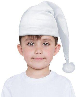 Mädchen Jungen Kinder White Night Kappe Schlumpf Kostüm Zubehör Lang Hut