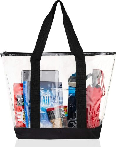 [2 Pack] Clear Tote Bags for Work, Beach, Stadium, Security Approved