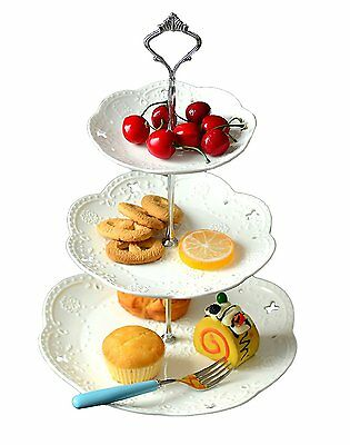 Tiered Cake Stand (3-tier Porcelain Cake Stand Dessert Stand-Tea Party Serving Platter (3RW)