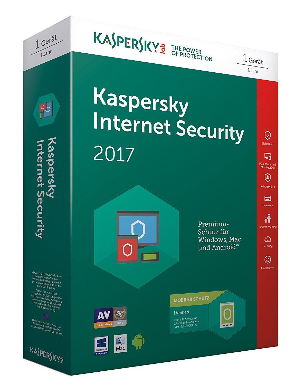 Antivirensoftware Kaspersky Internet Security 2017 Lizenz für einen Computer