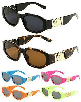 SLIM OVAL GOLD TIGER MEDALLION SUNGLASSES LUXURY ELEGANT BIGGIE RAP HIP HOP (Elegant Sunglasses)