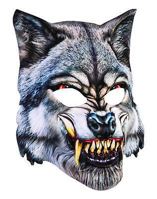 3D BIG BAD WOLF FACE MASK Realistic Halloween Dog Werewolf Scary Fangs Monster