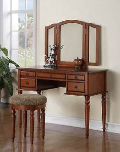Wooden Make UP TRI Fold Mirror Vanity SET With Stool AND 5 Drawers Walnut EBay