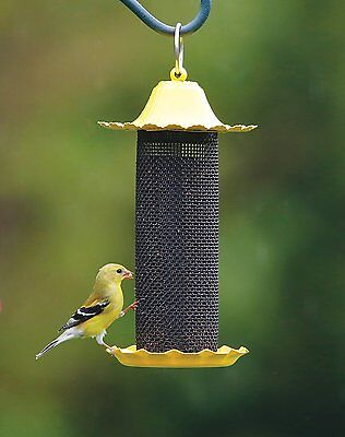 Finch Bird Feeder with Metal Roof Protects Feed Durable Plastic Easy Fill/Clean