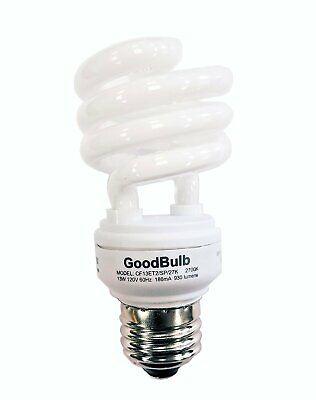 13 Watt Compact Fluorescent Bulb -Mini Spiral - 2700K - E26 Base - by GoodBulb (Base Spiral)