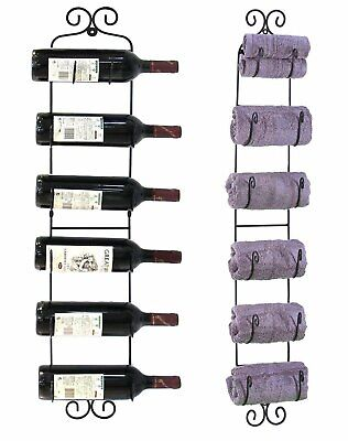 Multi-Purpose Wall Mount Rack; Wine Bottles, Towels, Hats, and More - WNR04