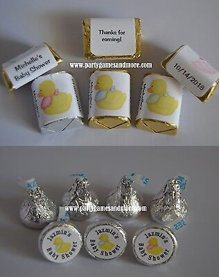 UNIQUE DUCK THEME BABY SHOWER, BIRTHDAY HERSHEY'S KISS OR NUGGET CANDY LABELS (Candy Themed Baby Shower)