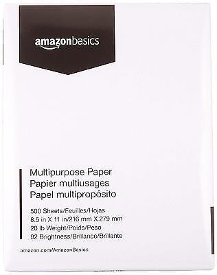 AmazonBasics 92 Bright Multipurpose Copy Paper 8.5 x 11 Inches 1 Ream 500 Sheets