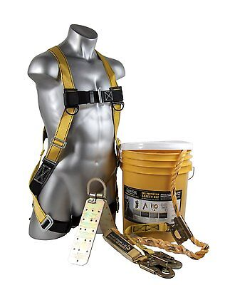 Guardian Fall Protection 00815 Bucket Of Safe-tie Roofers Kit With 50 Lifeline