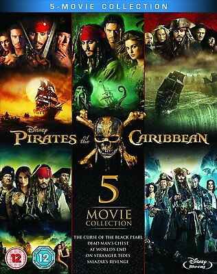 Pirates of the Caribbean 1-5 Five Movie Collection Blu-Ray Set NEW Free