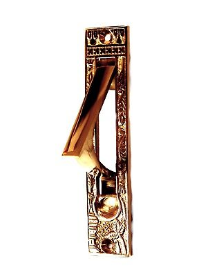 Pocket Door Pull in Polished Solid Brass Antique or Vintage Style Face Plate