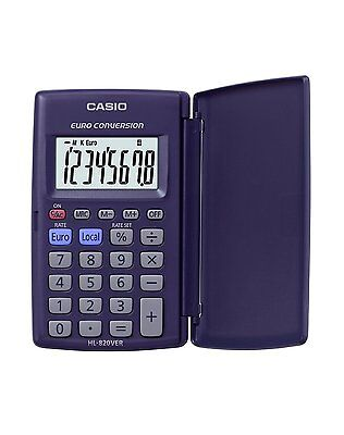 New Casio Pocket Calculator Euro € Conversion with Large Display HL-820VER