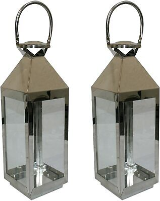 2 x Candle Light Lanterns 55x16x15cm Stainless Steel Home Indoor/Outdoor