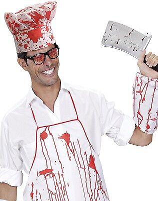 Metzger Halloween-kostüm (Herren Damen blutig Metzger Koch Halloween Kostüm Kleid Outfit Satz)