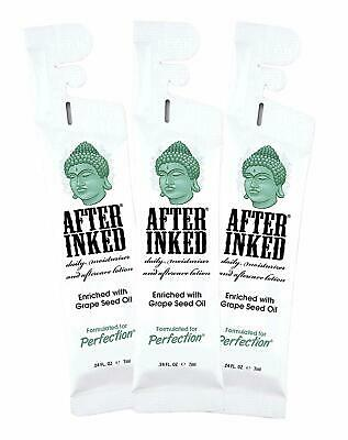 AFTER INKED Tattoo Aftercare Skin Lotion Cream 7ML Reclosable Pillow 3 Pack New