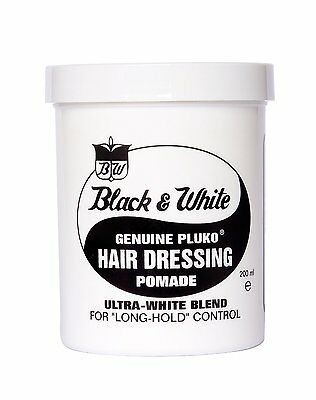 2 X Black & White Genuine Pluko Hair Dressing Pomade 200