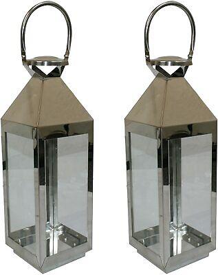 2xStainless Steel Hanging Glass Lantern Candle Light Indoor Outdoor Patio Garden