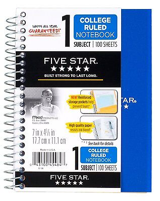 Five Star Personal Spiral Notebook 7 X 4 38 100 Sheets College Rule Assor