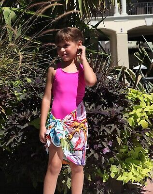 Girls Swimsuit Cover Up Bathing Suit Sarong Cotton Starfish Sizes Fits 4 to 7
