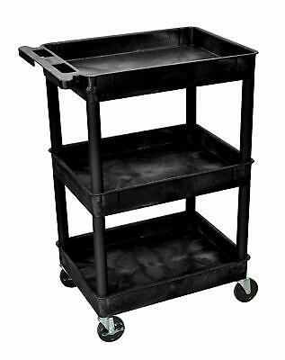 Luxor Stc111 40.5 Automotive Utility Cart With 3 Shelves Black New Free Ship