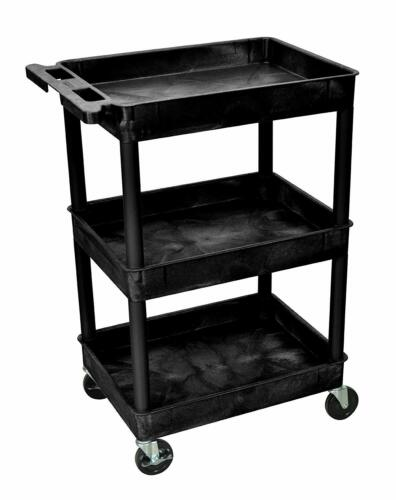 """Luxor STC111 40.5"""" Automotive Utility Cart with 3 Shelves, Black New Free Ship"""