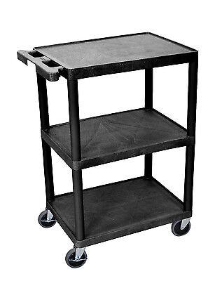 Luxor Multipurpose Rolling Three Flat Shelves Storage Utility Cart - Black
