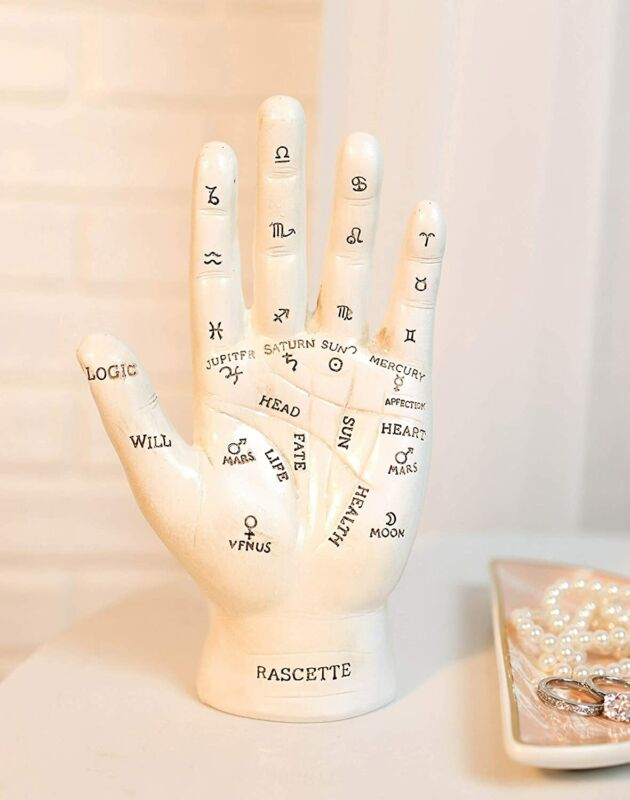 Psychic Fortune Teller Palmistry White Hand Palm Figurine With Lines and Symbols