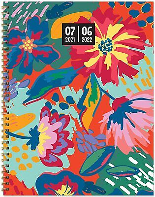 July 2021 - June 2022 Painted Flowers Large Daily Weekly Monthly Planner