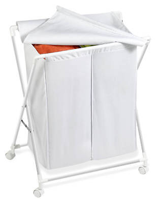 White Steel Folding Double Laundry Sorter # (Sorter Folding)