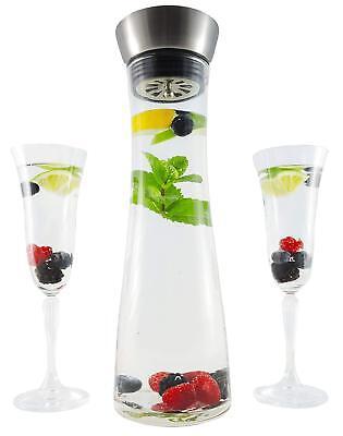 Glaskaraffe, Wasserkaraffe, Glasflasche | mit Deckel & Einsatz | aus Glas | 1L ()