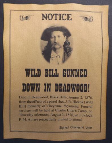 Wild Bill Hickok Gunned Down in Deadwood Poster, old west, death, wanted western