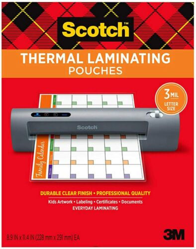 """Scotch Thermal Laminating Pouches 8.9"""" x 11.4"""" - 3Mil - PICK YOUR OWN # OF POUCH"""