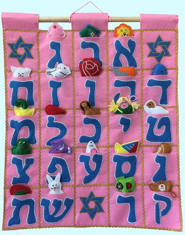 Pockets of Learning Aleph Bet Wall Hanging Pink Hebrew Fabric Wall Décor