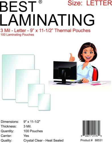 """Best Laminating 3 mil. Letter Thermal Pouches. 9"""" x 11.5"""" - Clear - 500 Pouches"""