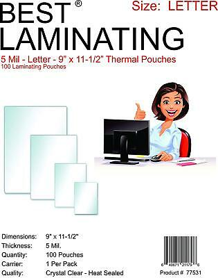 Best Laminating 5mil. Letter Laminating Pouches Clear. 9 X 11.5 - 100 Pouches
