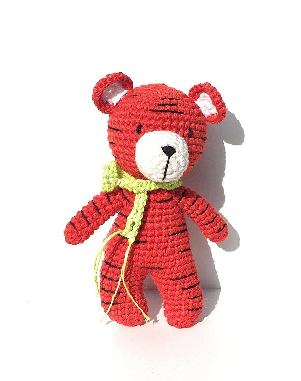 Tiger Stuffed Animal Unique Handmade Crochet 100 Cotton Yarn Fun Toys - $15.40