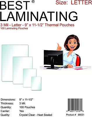 Best Laminating 3mil. Letter Thermal Pouches. 9 X 11.5 - 100 Pouches Total