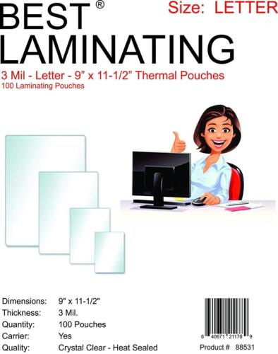 """Laminating Pouches 3mil Letter 100 9"""" x 11.5"""" Best Laminating, Scotch Quality"""