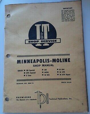 1966 Minneapolis Moline Shop Manual Ub Uts 5 Star M5 M504 M 602 M 604 670 Super