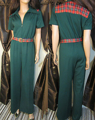 Vtg 70s Green & Plaid Bell Bottom Disco Jumpsuit M L
