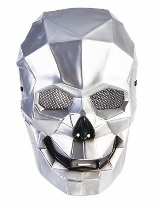 SILVER CYBORG SKULL MASK Plastic Halloween Robot Futuristic Space Face Alien   - Halloween Forums