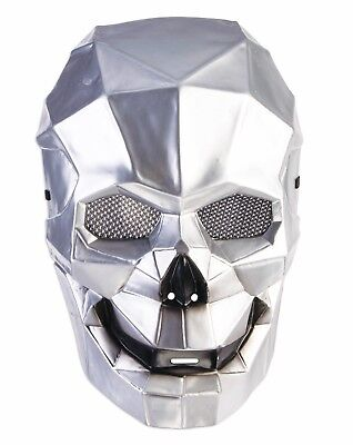 SILVER CYBORG SKULL MASK Plastic Halloween Robot Futuristic Space Face Alien  - Robot Masks