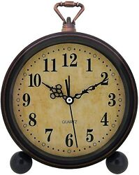 Wooden Alarm Clock Analog Table Desk Vintage Retro Style Quiet Old Fashioned New