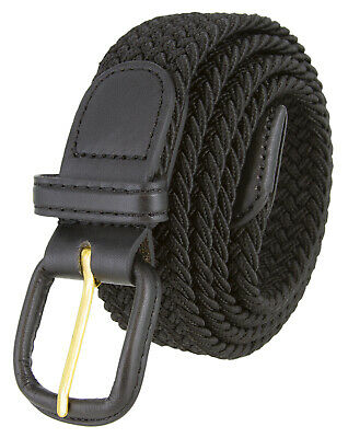 Black Leather Covered Buckle Woven Elastic Stretch Belt 1-1/4