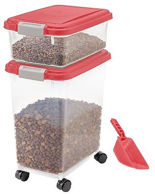 Pet Food Storage Container Holder Feed Dog Cat Bin Rolling Scoop Seal Fresh